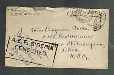 1919 US Army Officer Cover AEF Siberia Russia Allied Expeditionary Force to Ohio
