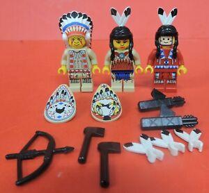 VTG LOT LEGOS INDIAN MINIFIGURES-CHIEF/HEADDRESS/BOW/ARROWS/AXE/SHIELDS/FEATHERS