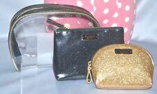 Victorias Secret Gold Shimmer Bling 3 piece Travel Makeup Cosmetic Bag Set Nwt
