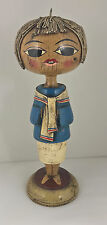 Gustavo Mexico Mexican Folk Art Wood Candlestick Vintage Signed Lady woman