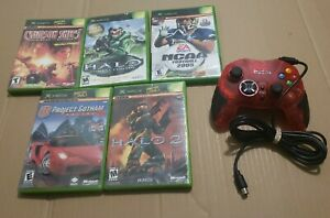 Gamestop Xbox Wired Controller (Red) + 5 Xbox Games