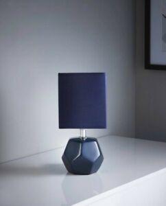 Navy Blue Shade Ceramic Table Lamp Small Desk Light Home Office Kids Room Decor