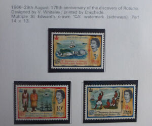FIJI 1966 175th ANNIV DISCOVERY OF ROTUMA SET 3 MINT STAMPS HINGED