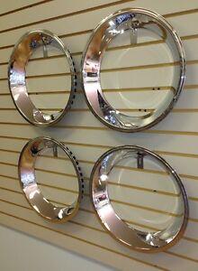 "15"" 2.5"" Stepped Edge CHROME Stainless Steel Beauty Trim Ring SET 15x7 Wheel"