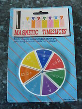 10 x WEEKLY PLANNER MAGNETIC TIME SLICE  FRIDGE MAGNETS BRIGHT DAY GLO COLOUR