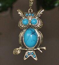 EULE blau türkis Optik Halskette Vintage lange Kette bronze Kauz Uhu Hibou Owl