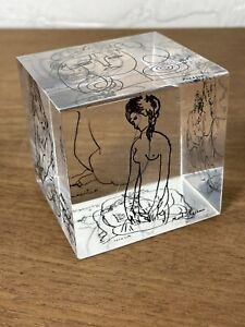 1960 Pop Art Lucite Cube Vintage Mid Century Modern Picasso Matisse Sketches