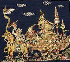 Thai Art Silk Paintings Handmade Ramayana MultiColor Poster Wall Blue Home Decor