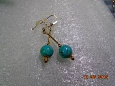 Turquoise Hook Natural Round Fine Earrings