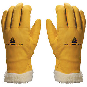 Delta Plus Leather Outer Fur Lined Inner Work Safety Padded Warm Gloves (FBF15)