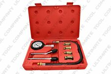 Complete 8 Pcs Professional Engine Cylinder Compression Tester Kit Tool Motor