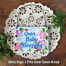 DECO Mini Sign QUIET.. BABY SLEEPING Door Knob Hanger Gift Wood Ornament NEW USA