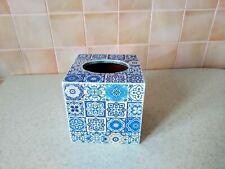 Tissue box cover Handmade wood square, Blue Tiles, Vintage Kleenex dispenser