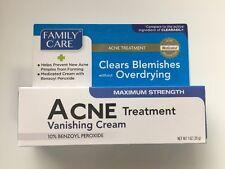 Acne Pimple Treatment Cream Max Strength 10% Benzoyl Peroxide Family Care 1 oz