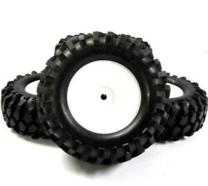 A960001 1/10 Scale Off Road Rock Crawler Wheel and Tyres x 4 White Plastic Disc