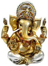 """Ganesha Statue 5.5"""" Gold and Silver Ganesh Ganapati (K74)"""