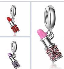 🎀 Pink Red Purple 925 Lipstick Makeup Charm Pandora Style