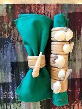 Beautiful Wood & Shell Napkin Rings Set of 6