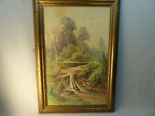 Fine Carl Phillip Weber Waterfall Landscape w/c Painting Philadelphia Artist