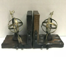 New ListingVintage Brass Globe Sundial Wooden Book Ends Rustic Industrial Home Decor