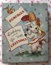Vintage 1940s Empty Greeting Card Box Cute Little Lamb in Bonnet with Parasol