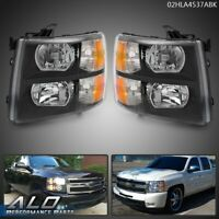 For 07-13 Chevy Silverado 1500/2500/3500 Amber Headlights Black Replacement