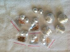 Lot of 2 40MM Silver Plated Copper Corrugated and 12 10MM Brushed Silver Beads