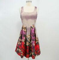 Belle Badgley Mischka Fit&Flare Dress Womens Sz 2 Floral Gold Metallic Pink