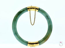 Vintage Green Jadeite Jade Bangle With Engraved 14K Yellow Gold Hinge & Clasp.