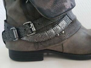 Damen Boots, Stiefelette taupe, Vintage- Optik mit Schnallen, rieker Gr.38