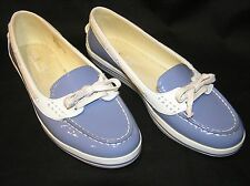 TOMMY BAHAMA CASTILLE RELAXOLOGY BOAT DECK SHOES PATENT LEATHER BLUE WHITE 9