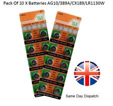 AG10, LR1130 189 LR54 390 389 1.5 V Bouton/Coin Batterie Cellule 10X importés de qualité