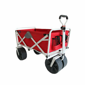 Mac Sports Heavy Duty Collapsible Folding All Terrain Beach Wagon, Red and Grey