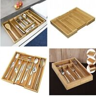 NEW ADJUSTABLE EXPANDABLE BAMBOO WOODEN CUTLERY UTENSILS TRAY STORAGE DRAWER