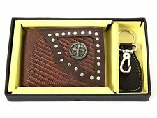 Gift Box 7 Credit Card Slot Double Bill With Key Ring Brown Men's Wallet