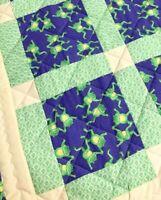 "Baby Quilt Handmade Frogs Green Purple Yellow Patchwork Crib Blanket 42""x42"" NEW"
