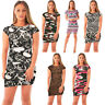 LADIES SHORT SLEEVE PRINTED BODYCON WOMENS STRETCH MINI DRESS TOPS 8-22
