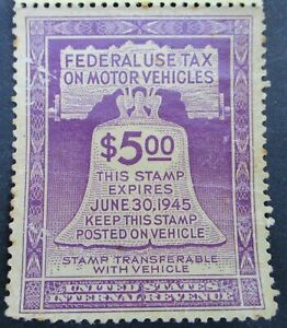 2 RARE UNUSED 1944/1945 'MOTOR VEHICLE FEDERAL USE' GAS TAX STAMPS ~ WWII ISSUED