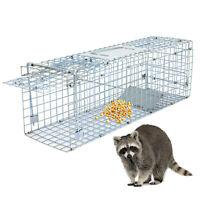 24x8x7.5 Humane Animal Trap Steel Cage Live Rodent Control Skunk Rabbit Opossuml