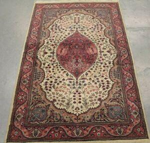 Old Handmade Oriental Indian Kashmir Wool Rug 154cm x 95cm