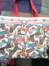 Canvas Tote/Shopping Bag - Cowboy boots, new, heavy weight canvas super stylish!