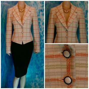 ST. JOHN Knits Cream Orange JACKET M 8 Blazer Multicolor Plaid Pearl Buttons