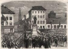 INAUGURAZIONE della statua di Teniers a Anversa. Belgio, antica stampa, 1867