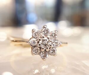 18CT YELLOW GOLD & DIAMOND RING, FLOWER CLUSTER, SIZE K ,APRIL, ENGAGEMENT,BOXED