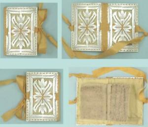Gorgeous Antique Carved Mother of Pearl Needle Book * English * Circa 1850