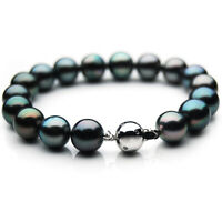 Pacific Pearls® 11-13mm Tahitian Pearl Diamond White Gold Bracelet Wedding Gifts