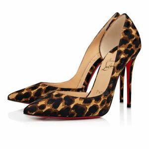 Christian Louboutin Iriza 100 Black Brown Silk Leopard Sandal Heel Pump 37.5