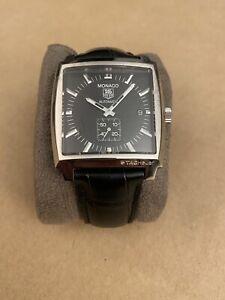 TAG Heuer Monaco Men's Black Watch with Leather Strap - WW2110-0 -