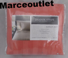 Charter Club 500 Thread Count Damask Stripe FULL Sheet Set Hibiscus