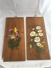 Birds Flowers wood shingles Chickadees Daisies Acrylic Paintings BH Batey Signed